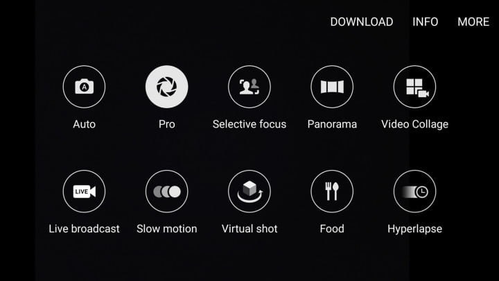 The Galaxy S7 and S7 Edge menu with Pro mode selected.