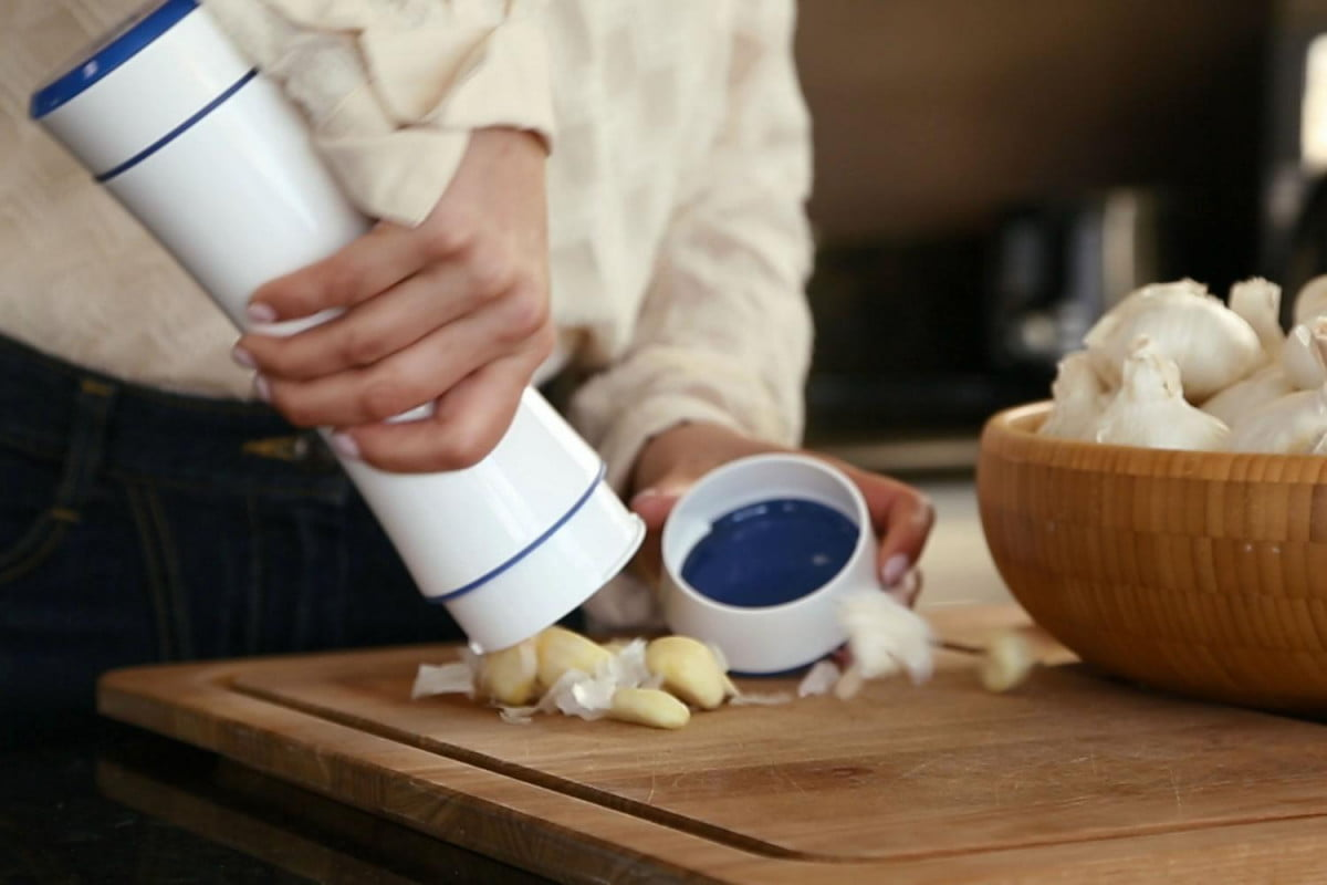 want to peel an entire head of garlic in seconds try the shaker
