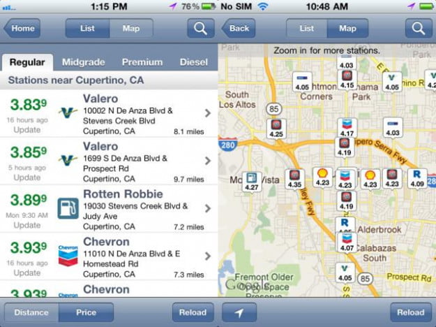 gasbuddy gas price finder iphone app cars