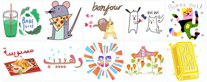 A selection of Snapchat's new Geostickers
