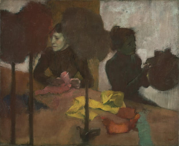 Edgar Degas (French, 1834 - 1917) The Milliners, about 1882 - before 1905, Oil on canvas Unframed: 59.1 x 72.4 cm (23 1/4 x 28 1/2 in.) Framed: 77.8 x 91.1 x 6.4 cm (30 5/8 x 35 7/8 x 2 1/2 in.) The J. Paul Getty Museum, Los Angeles