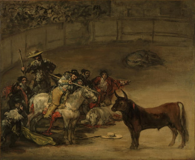 Francisco José de Goya y Lucientes (Francisco de Goya) (Spanish, 1746 - 1828) Bullfight, Suerte de Varas, 1824, Oil on canvas Unframed: 49.8 x 70.8 cm (19 5/8 x 27 7/8 in.) Framed [outer dim]: 64.8 x 75.9 x 5.7 cm (25 1/2 x 29 7/8 x 2 1/4 in.) The J. Paul Getty Museum, Los Angeles