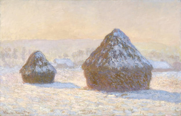 Claude Monet (French, 1840 - 1926) Wheatstacks, Snow Effect, Morning, 1891, Oil on canvas Unframed: 64.8 x 99.7 cm (25 1/2 x 39 1/4 in.) Framed: 88.6 x 123.2 x 7.9 cm (34 7/8 x 48 1/2 x 3 1/8 in.) The J. Paul Getty Museum, Los Angeles