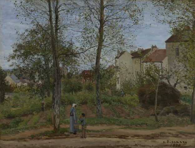Camille Pissarro (French, 1830 - 1903) Houses at Bougival (Autumn), 1870, Oil on canvas Unframed: 88.9 x 116.2 cm (35 x 45 3/4 in.) Framed: 110.5 x 138.1 x 9.8 cm (43 1/2 x 54 3/8 x 3 7/8 in.) The J. Paul Getty Museum, Los Angeles
