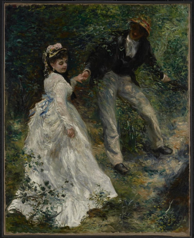 Pierre-Auguste Renoir (French, 1841 - 1919) La Promenade, 1870, Oil on canvas Unframed: 81.3 x 64.8 cm (32 x 25 1/2 in.) Framed [outer dim]: 110.2 x 94 x 8.9 cm (43 3/8 x 37 x 3 1/2 in.) The J. Paul Getty Museum, Los Angeles
