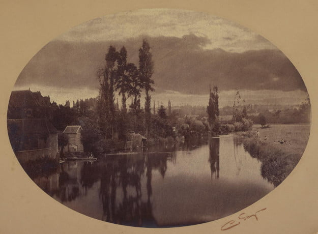 Camille Silvy, photographer (French, 1834 - 1910) River Scene, negative 1858; print 1860s, Albumen silver print Image (oval): 25.7 x 35.6 cm (10 1/8 x 14 in.) Mount (oval): 41.1 x 51.1 cm (16 3/16 x 20 1/8 in.) The J. Paul Getty Museum, Los Angeles