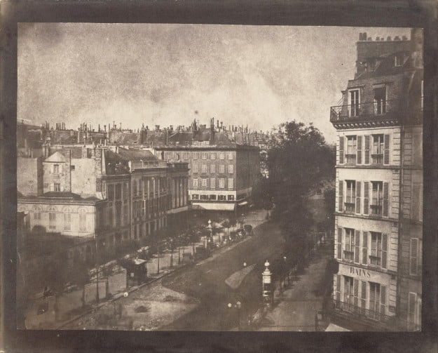 William Henry Fox Talbot, photographer (English, 1800 - 1877) View of the Boulevards of Paris, May 1843, Salted paper print Image: 16.4 x 21.4 cm (6 7/16 x 8 7/16 in.) Sheet: 18.7 x 23.2 cm (7 3/8 x 9 1/8 in.) The J. Paul Getty Museum, Los Angeles
