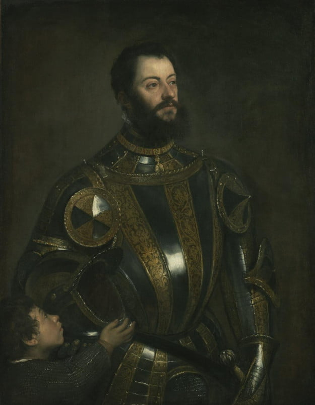 Titian (Tiziano Vecellio) (Italian, about 1487 - 1576) Portrait of Alfonso d'Avalos, Marquis of Vasto, in Armor with a Page, probably January - February 1533, Oil on canvas Unframed: 110 x 80 cm (43 5/16 x 31 1/2 in.) The J. Paul Getty Museum, Los Angeles