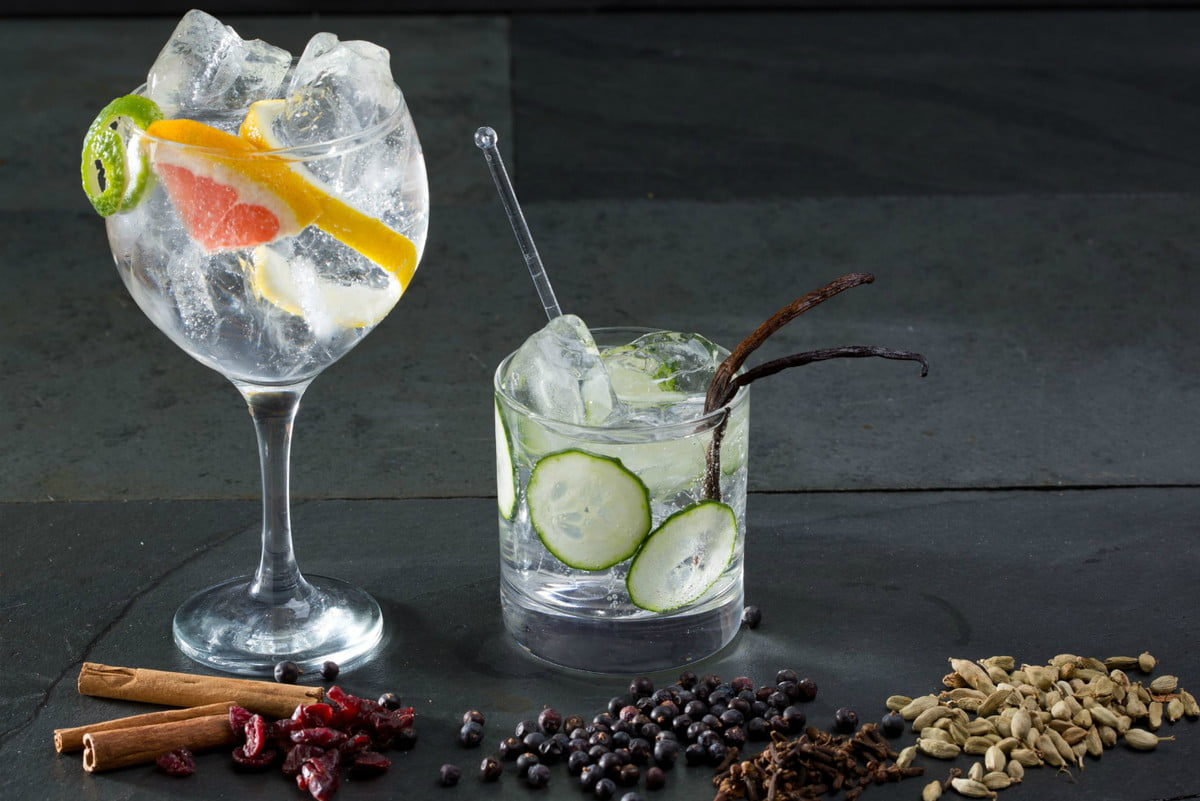 make cocktails with sous vide gin and tonic botanicals juniper