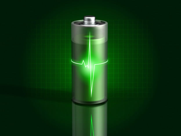 glowing green battery charging