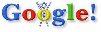 Google Doodle of Burning Man stick figure 1998
