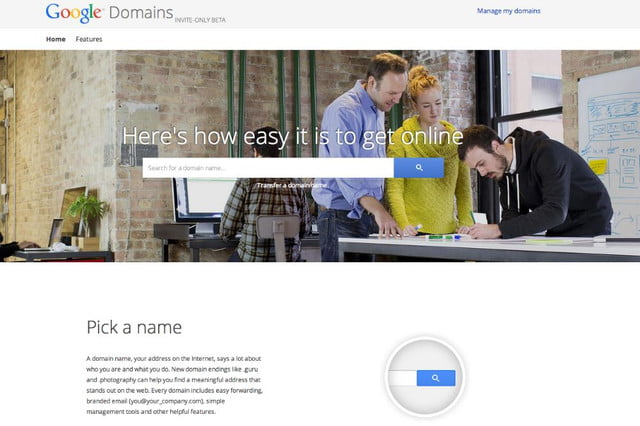 google testing service registering website domains