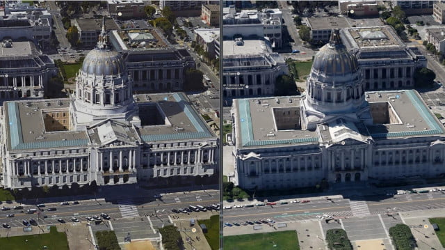 San Francisco City Hall with new Google 3D imagery (left) and old (right).