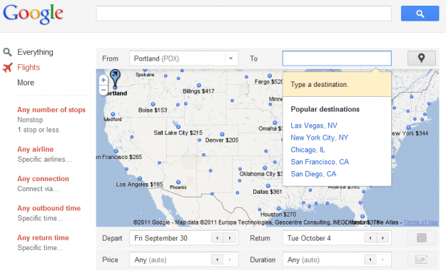 google flights ui