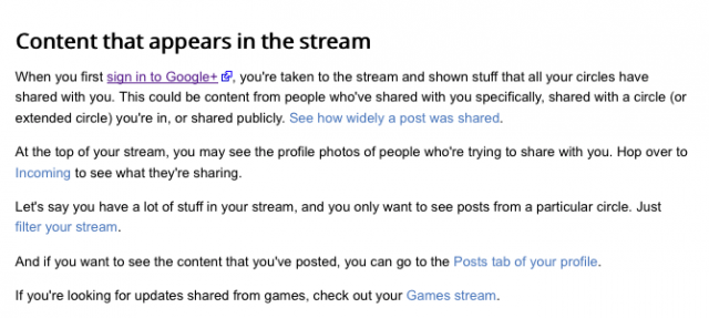 Google+ Games stream