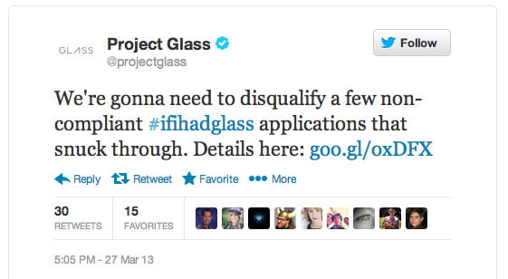 google glass contest message