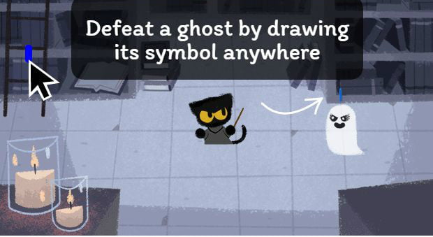 Google treats users to cat-against-ghosts game for Halloween
