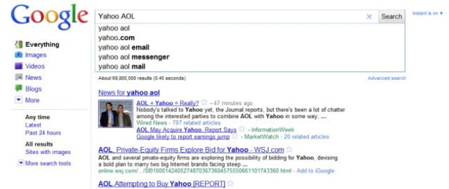 google instant hurts yahoo aol buyout rumors