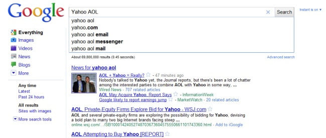 google-instant-hurts-yahoo-aol-buyout-rumors