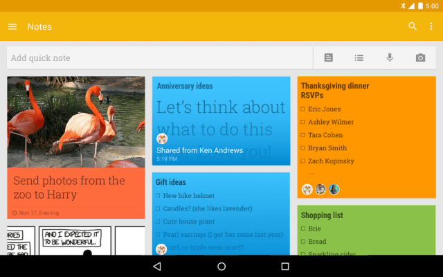 Google Keep Screen