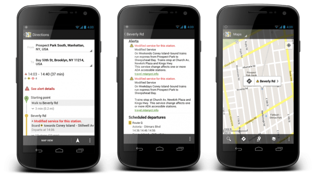 google adds live transit tracking to six locations on maps updated