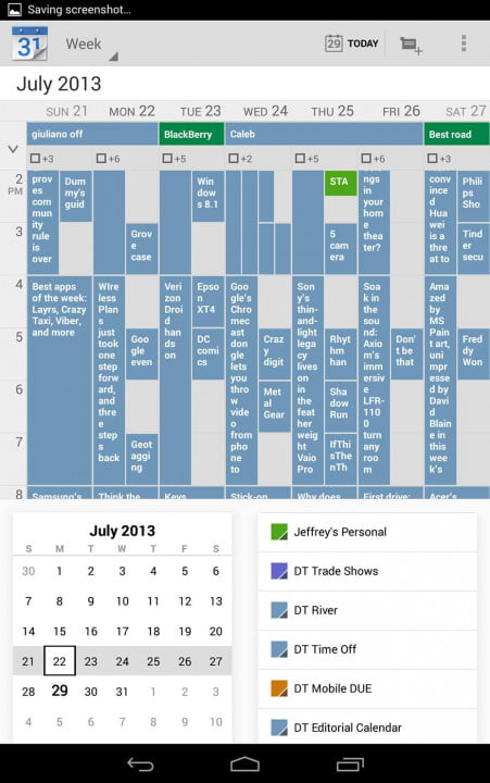 google nexus  review screenshot calendar