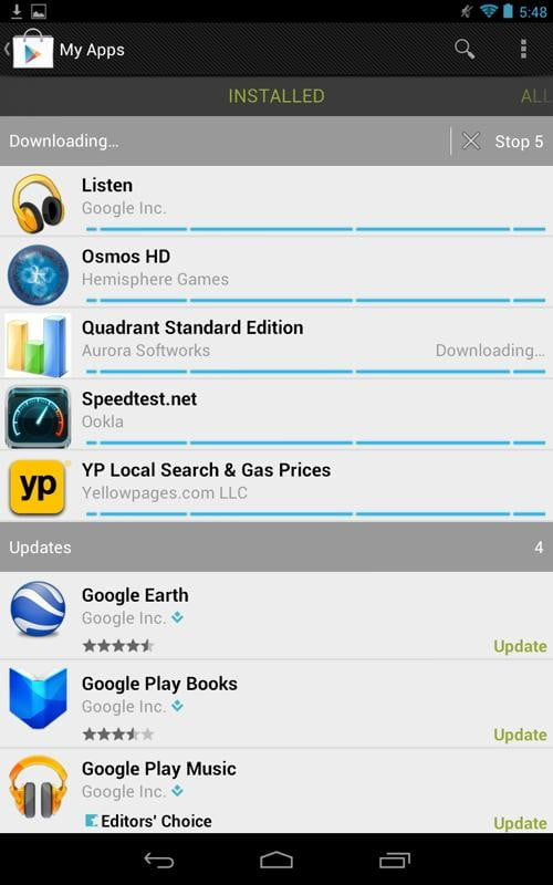 Google Nexus 7 Tablet review screenshot apps downloading android