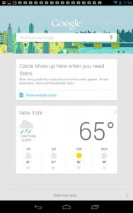 Google Nexus 7 Tablet review screenshot google now cards android