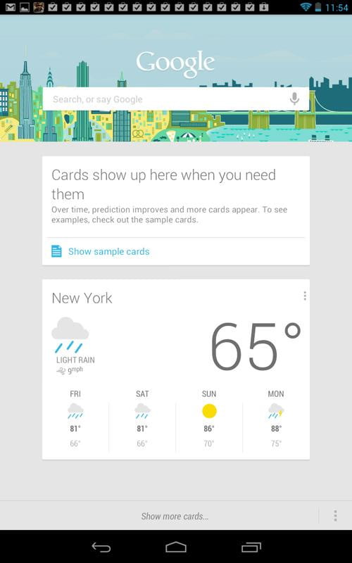 Google Nexus 7 Tablet review screenshot google now cards android siri