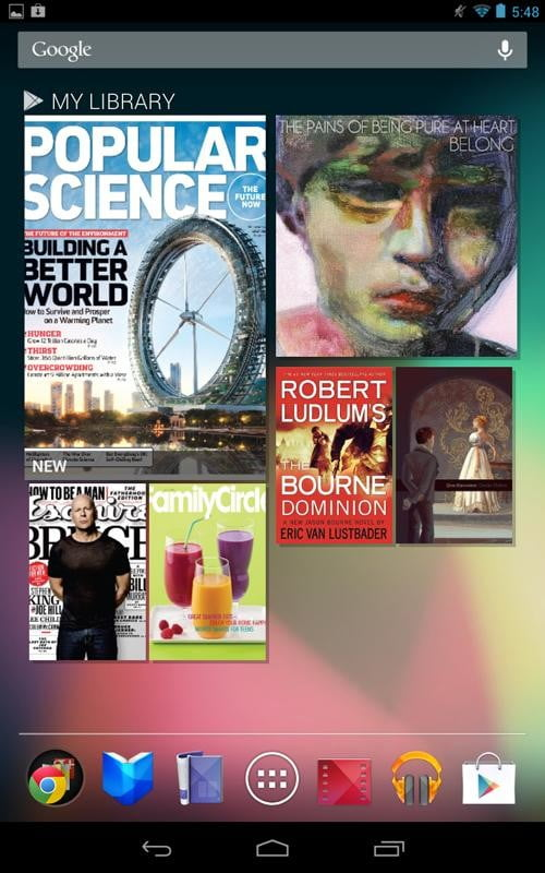 Google Nexus 7 Tablet review screenshot my library magazines android