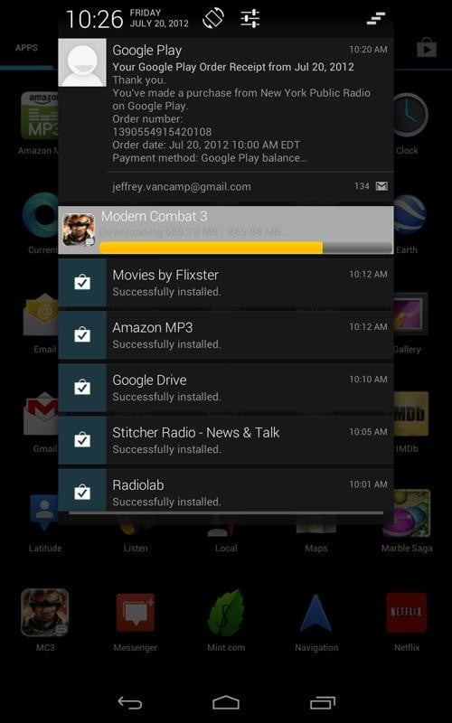 Google Nexus 7 Tablet review screenshot notifications android