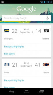 Google Now sports