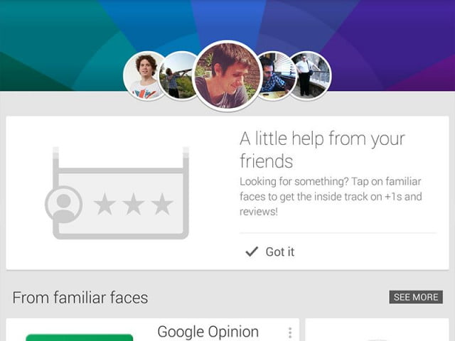 google play now shows app recommendations friends