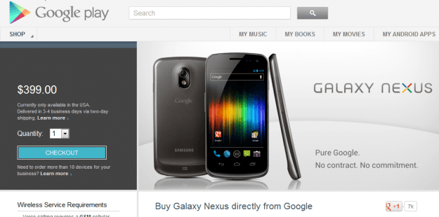 Google Play devices store Galaxy Nexus