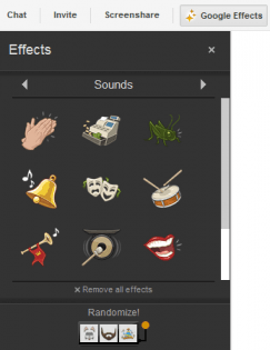 google plus hangout adds sound effects