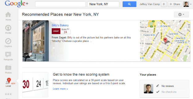 Google+ Local page with Zagat