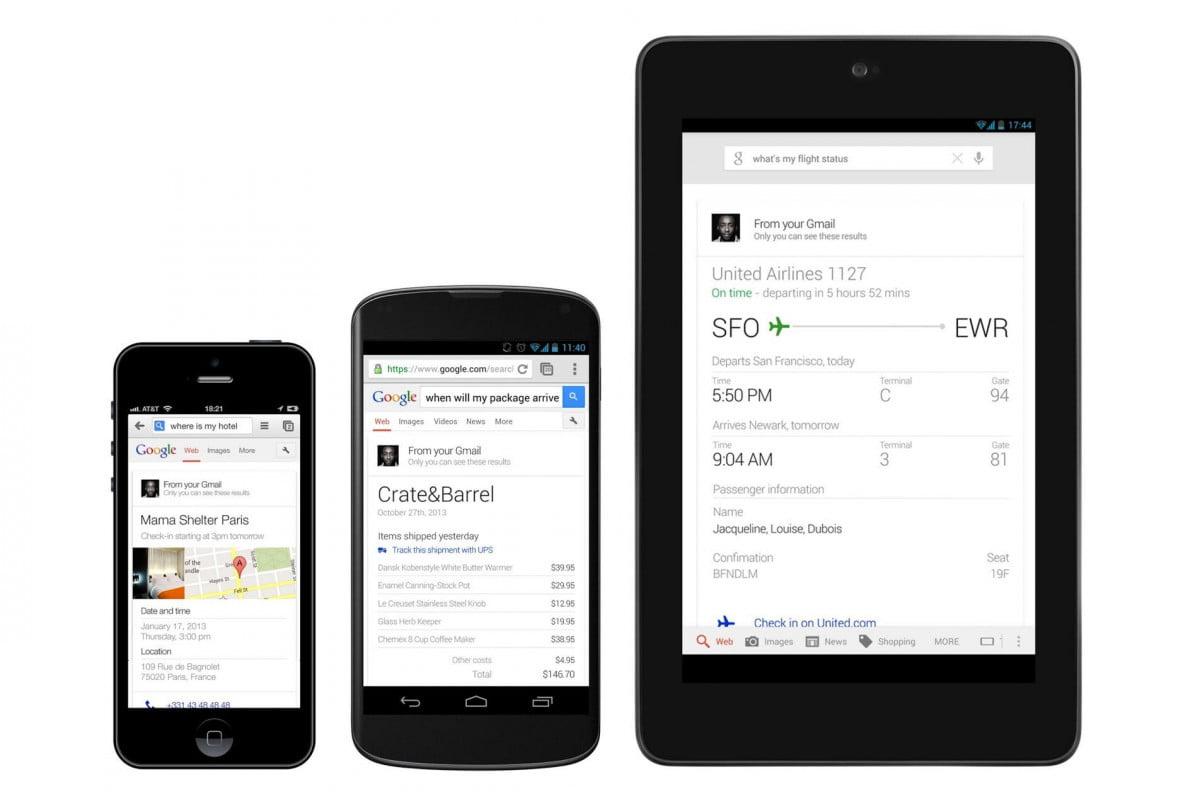 its personal google search updates with flight reservation and package delivery information