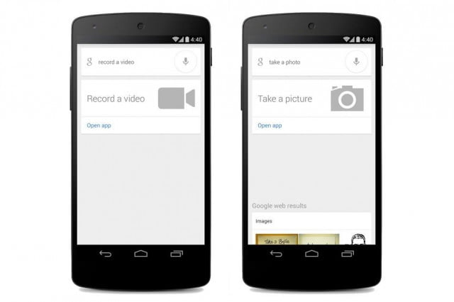 google search adds take picture video voice commands a