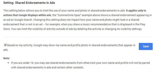 google shared endorsements opt out 2