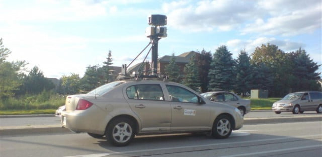 google street view car on the road