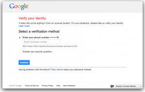 Google Verify Your Identity, We Think Something is Fishy