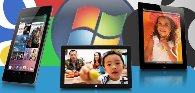 Google vs Microsoft vs Apple tablets windows 8 android nexus 7 ios ipad