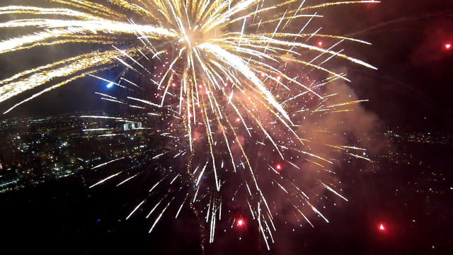 watch fireworks explode around gopro drone copter video