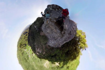 GoPro spherical video viewed in Little Planet mode.
