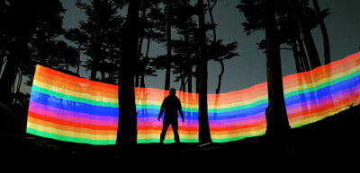 Using a special light bar and long exposure, you can create this rainbow effect. Custer shot this during a trip to San Francisco's Lands End.