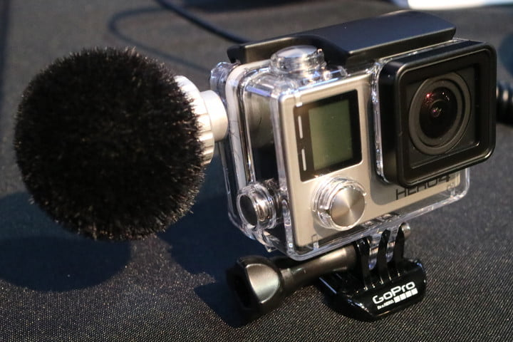 Sennheiser showed off a microphone solution designed to work with a GoPro underwater housing. The waterproof microphone provides a dramatic audio improvement over the camera's built-in mic.