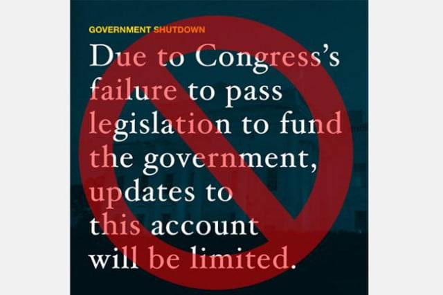 government shutdown social media