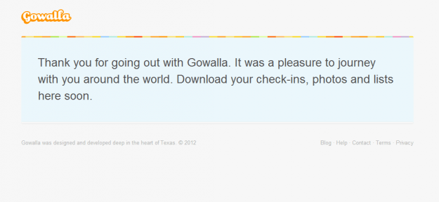 gowalla landing page after shut down