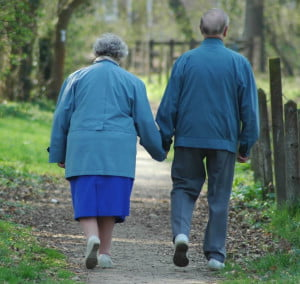 Grandparents on a walk