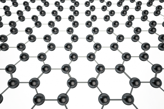 Graphene's atoms are arrange in a honeycomb pattern